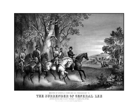 Framed Meeting of Generals Robert E Lee and Ulysses S Grant Print