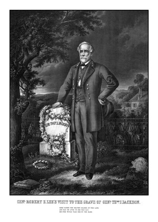 Framed General Lee Visiting the Grave of General Thomas Jackson Print