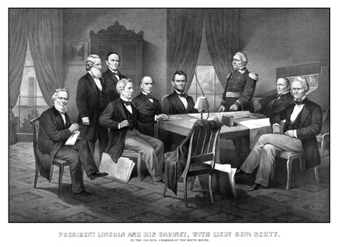 Framed President Abraham Lincoln and His Cabinet Print