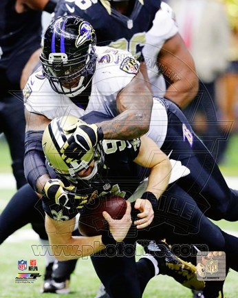 Framed Terrell Suggs Football Tackle Print
