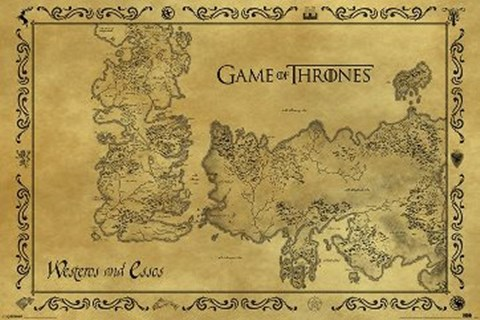 Framed Game of Thrones - Antique Maps Print
