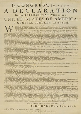 Framed United States Declaration of Independence Print