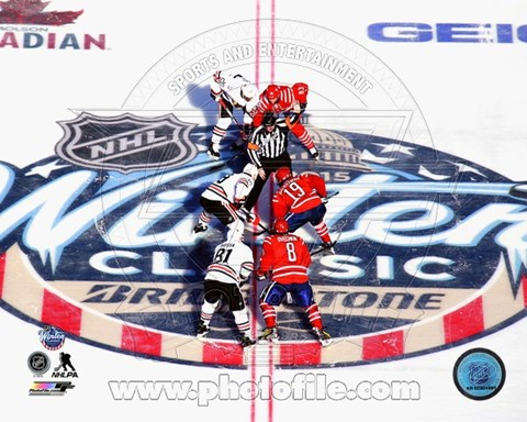 Framed 2015 NHL Winter Classic Opening Faceoff Print