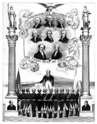 Framed First Eight Presidents of The United States Print