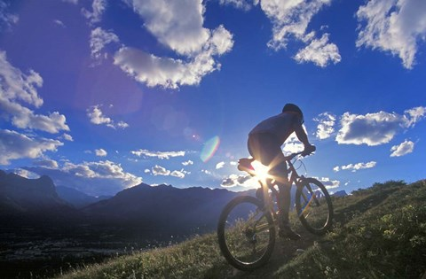 Framed Mountain Biker at Sunset, Canmore, Alberta, Canada Print