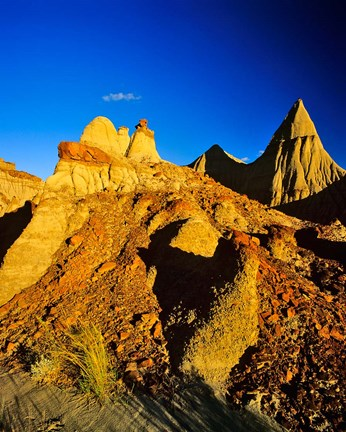 Framed Badlands formations at Dinosaur Provincial Park in Alberta, Canada Print