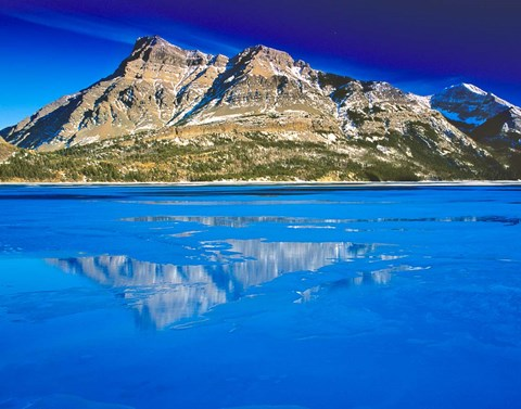 Framed Vimy Peak Reflects into Waterton Lake, Wateron Lakes National Park, Alberta, Canada Print