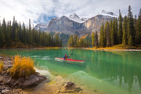 Framed Kayaker on Maligne Lake, Jasper National Park, Alberta, Canada Print
