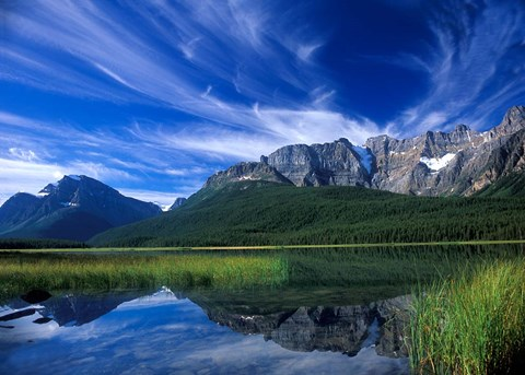 Framed Cirrus Clouds Over Waterfowl Lake, Banff National Park, Alberta, Canada Print