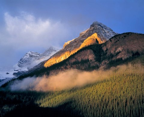 Framed Alberta, Banff NP, Sunrise of the Canadian Rockies Print