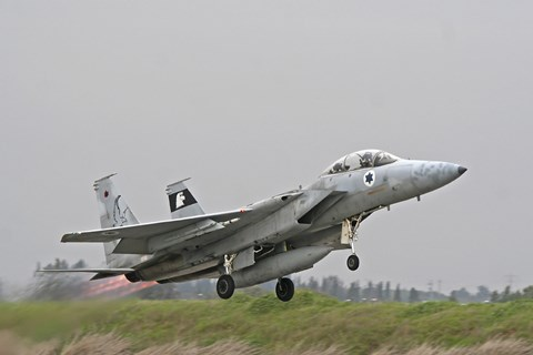 Framed F-15D Baz of the Israeli Air Force taking off from Tel Nof Air Base Print