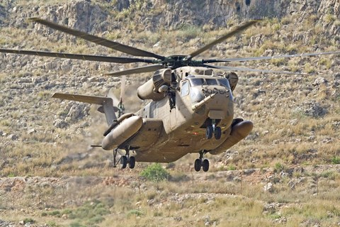 Framed CH-53 Yasur 2000 of the Israeli Air Force landing in the field Print