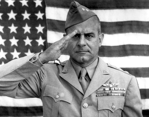 Framed General James Jimmy Doolittle Saluting with The American Flag Print
