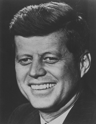 Framed President John F Kennedy (digitally restored) Print