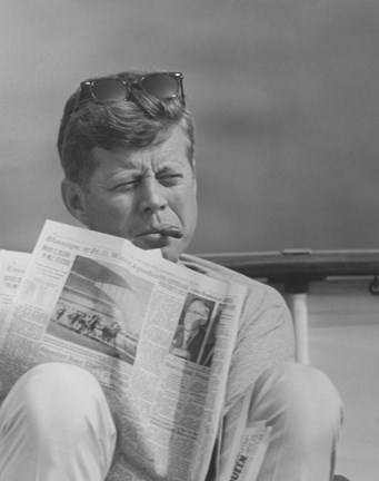Framed John F Kennedy Smoking a Cigar Print