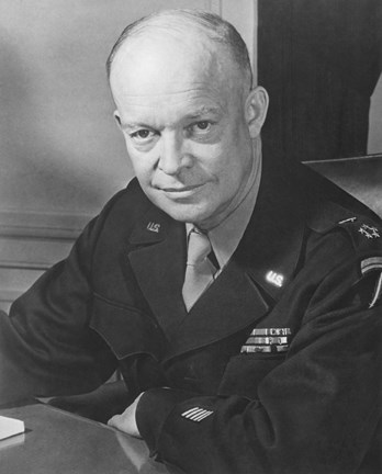Framed WWII Photo of General Dwight D Eisenhower Print