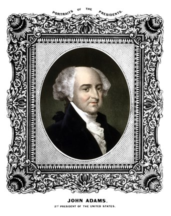 Framed President John Adams (color portrait) Print