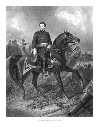 Framed Union General George McClellan on Horseback Print