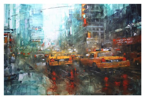 Framed Times Square Reflections Print