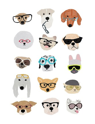 Framed Dogs with Glasses Print