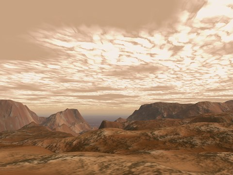 Framed Artist's Concept from Atop Olympus Mons on the Planet Mars Print