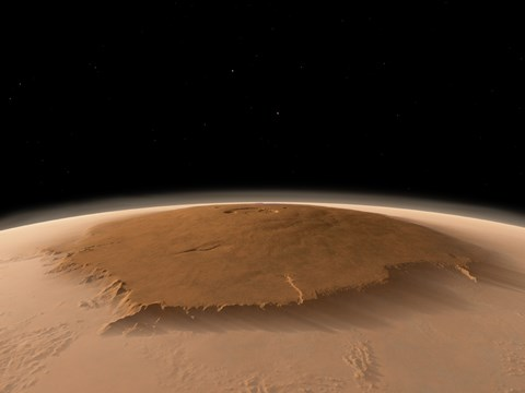 Framed Artist's Concept of the Northwest Side of the Olympus Mons volcano on Mars Print