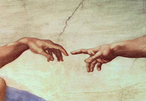 Framed Hands of God and Adam, detail from The Creation of Adam, from the Sistine Ceiling, 1511 Print