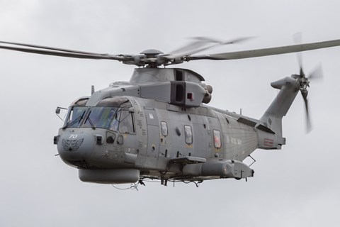 Framed Royal Navy EH-101 Merlin in Flight, Jagel, Germany Print
