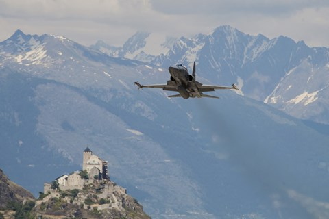Framed Swiss Air Force F-5E Tigers Above Sion Air Base, Sion, Switzerland Print
