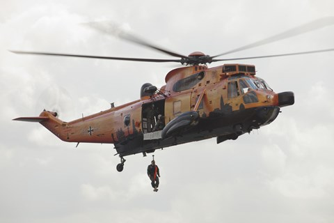 Framed German WS-1 Sea King during a Fast-roping Exercise Print