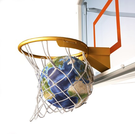 Framed 3D Rendering of Planet Earth Falling Into a Basketball Hoop Print