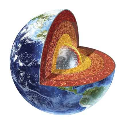 Framed Cross Section of Planet Earth Showing the Inner Core Print