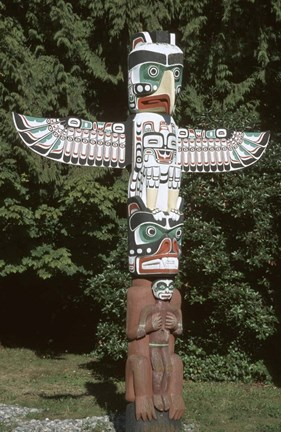Framed Totem Pole at Stanley Park, Vancouver Island, British Columbia, Canada Print