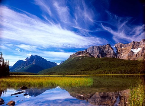 Framed Waterfowl Lake and Rugged Rocky Mountains, Banff National Park, Alberta, Canada Print