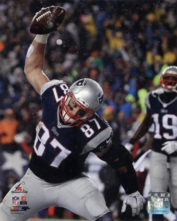 Framed Rob Gronkowski Touchdown celebration AFC Championship Game 2014 Playoffs Print
