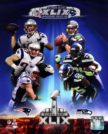 Framed Super Bowl XLIX Seattle Seahawks Vs. New England Patriots Match Up Composite Print