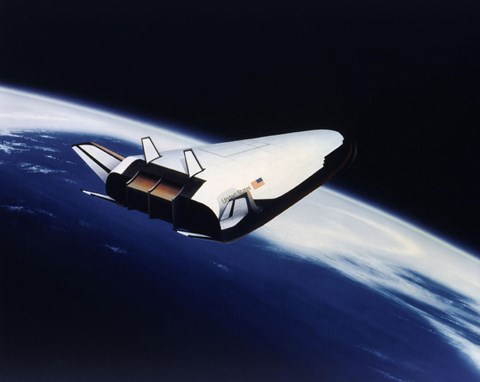 Framed Artist's Rendering of the X-33 Reusable Launch Vehicle Print
