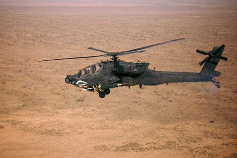 Framed AH-64D Apache Longbow Fires a Hydra Rocket over Northern Iraq Print