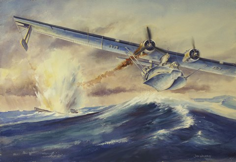 Framed Damaged PBY Catalina Aircraft after the Attack and Sinking of a German U-boat Print