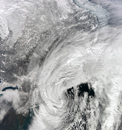 Framed Satellite View of a Large Nor'easter Print