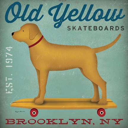 Framed Golden Dog on Skateboard Print