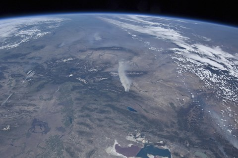 Framed View from Space of the Wild fires in the Western and Southwestern United States Print