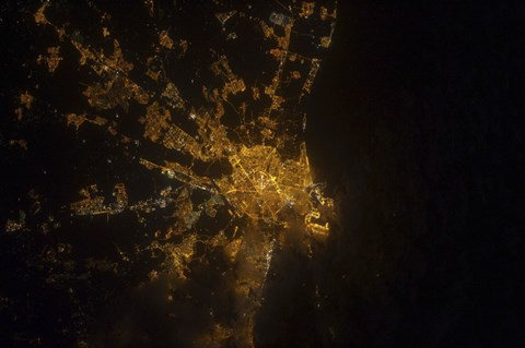 Framed Nighttime image of Valencia on the Mediterranean Coast of Spain Print