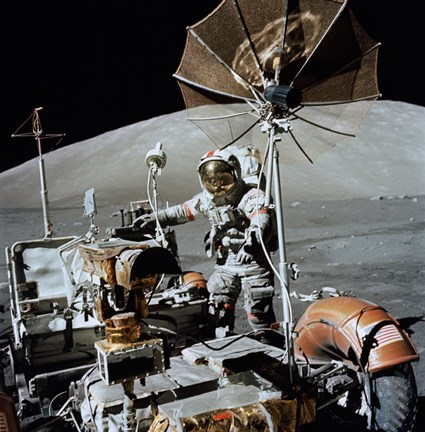 Framed Apollo 17 Astronaut Approaches the Parked Lunar Roving Vehicle Print