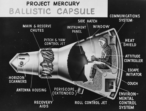 Framed Cutaway Drawing of the Project Mercury Ballistic Capsule Print