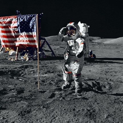 Framed Apollo 17 Astronaut Salutes the United States Flag on the Lunar Surface Print
