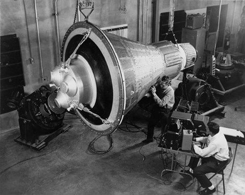 Framed Engineers Inspect and Test a Boilerplate Mercury Space Capsule Print