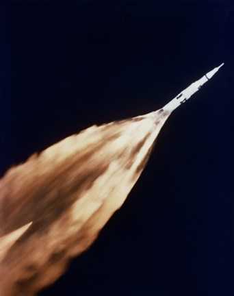 Framed Apollo 6 spacecraft Leaves a Fiery Trail in the Sky after Launch Print