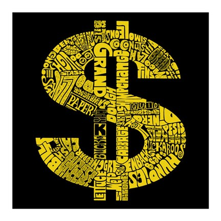 Framed Dollar Sign (Slang terms for Money) Print
