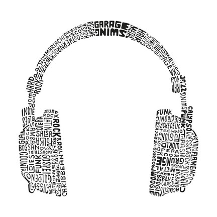 Framed Headphones (Music Genres) Print